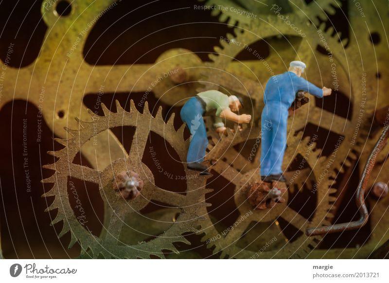 Miniwelten - Zeitmaschine Mensch Mann Erwachsene braun Arbeit & Erwerbstätigkeit Metall maskulin Uhr gold Technik & Technologie Zukunft Zifferblatt Ewigkeit