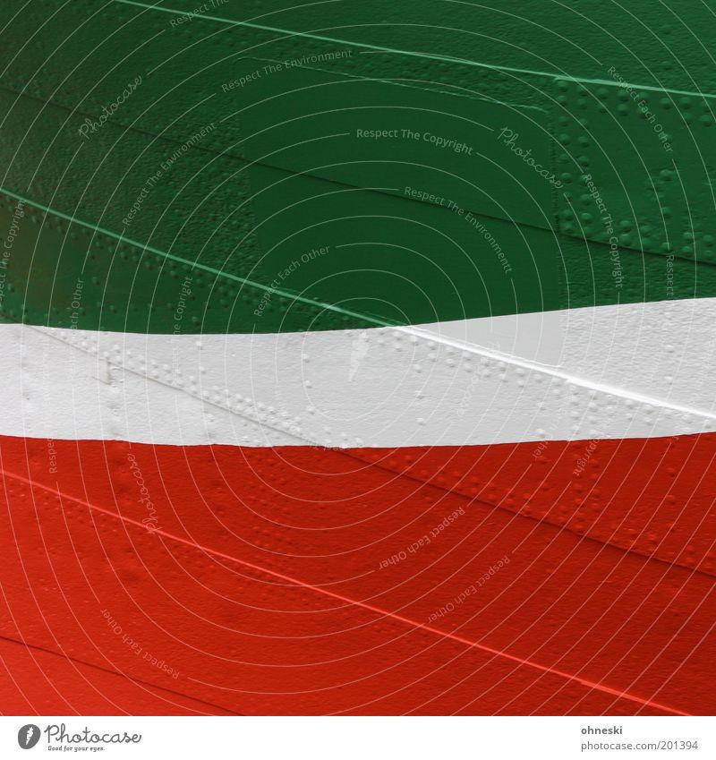 Geschwungen Schifffahrt Wasserfahrzeug Niete Metall grün rot weiß Farbe Lack Nordrhein-Westfalen Farbfoto mehrfarbig abstrakt Muster Strukturen & Formen