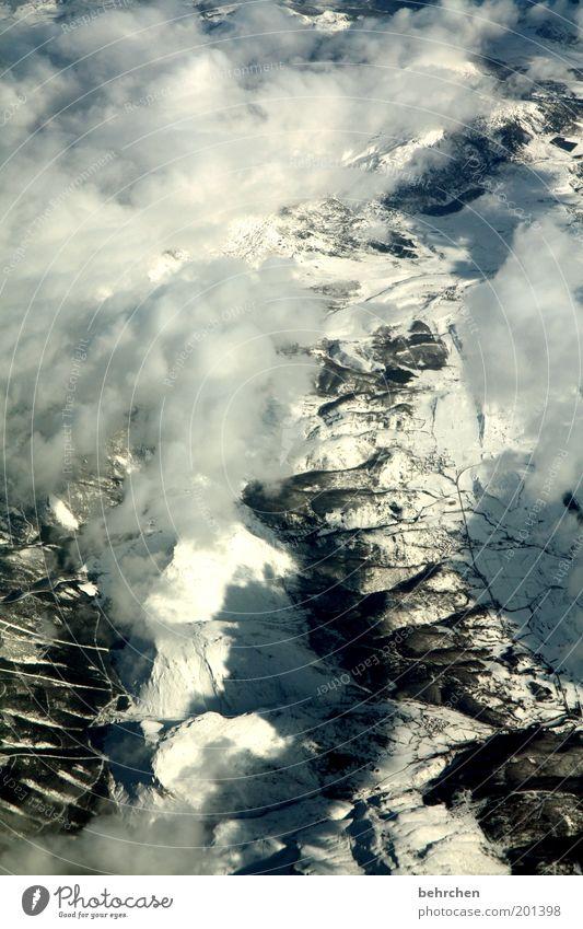 betrachtungsweise Natur Ferien & Urlaub & Reisen Wolken ruhig Ferne Umwelt Landschaft Schnee Berge u. Gebirge Freiheit Zufriedenheit Ausflug Tourismus
