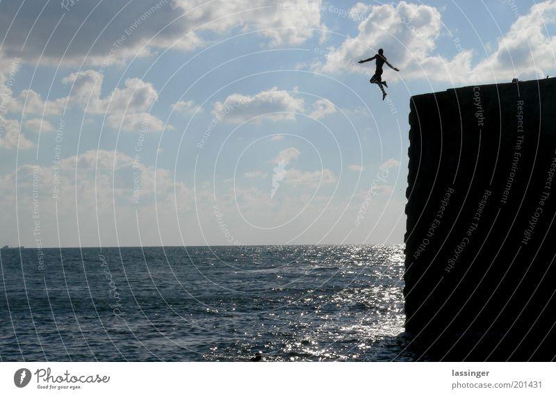 Felsenspringer 01 Umwelt Natur Landschaft springen Farbfoto Außenaufnahme Textfreiraum links Tag Sonnenlicht Zentralperspektive Totale Israel Akko Meer Freiheit