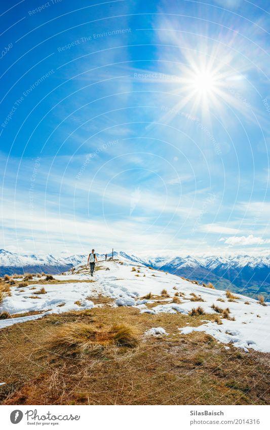 Reisen in Neuseeland Natur Ferien & Urlaub & Reisen Jugendliche Junger Mann Landschaft Freude Ferne Winter Berge u. Gebirge Leben Lifestyle Schnee Sport