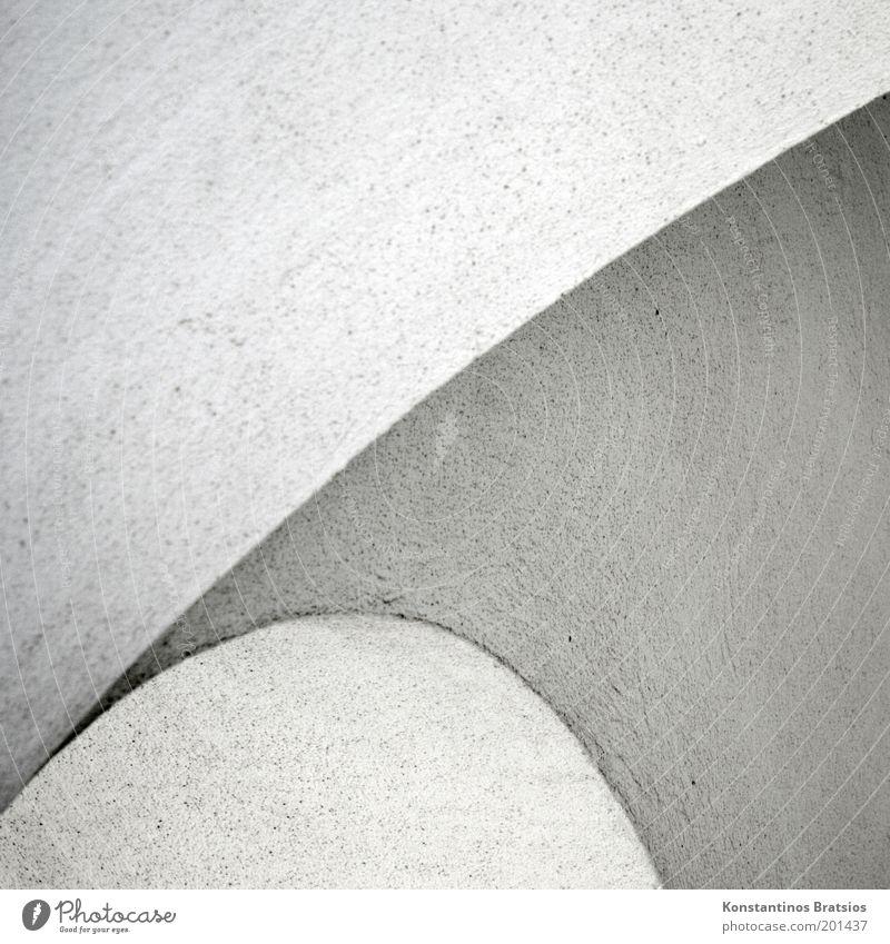 Charakter weiß grau Linie Hintergrundbild Design Ecke rund fest Säule Putz Bogen gekrümmt Schwarzweißfoto Detailaufnahme