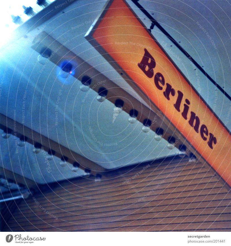 berliner in hamburg. blau hell orange glänzend Lebensmittel geschlossen Schriftzeichen Dekoration & Verzierung süß Appetit & Hunger Werbung Süßwaren Dienstleistungsgewerbe Jahrmarkt Glühbirne Backwaren
