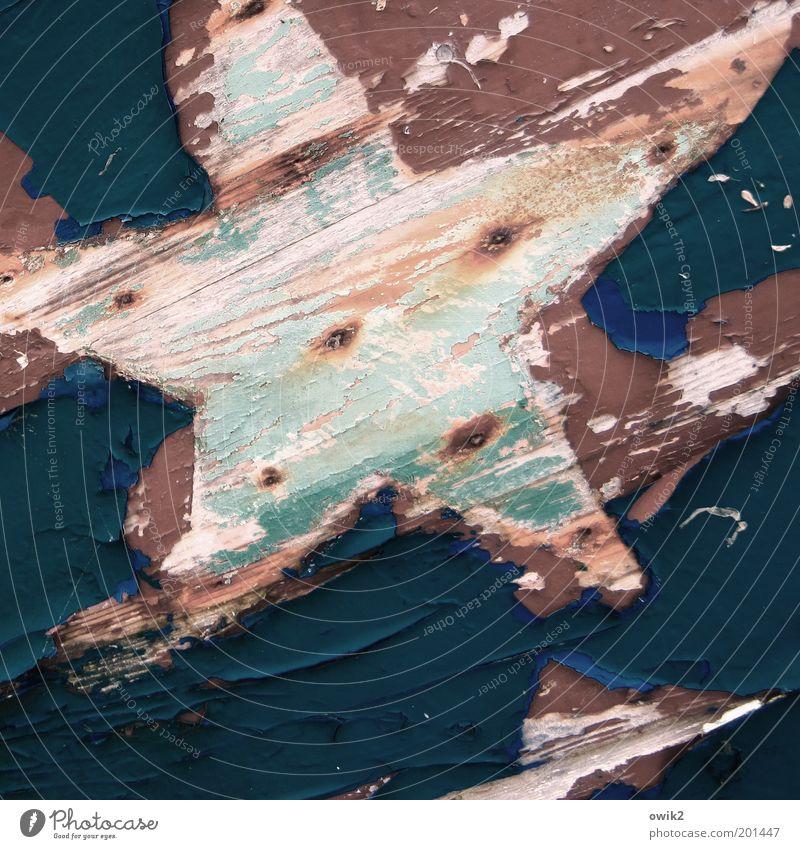 Einsamer Stern Kunst Farbe Farbenspiel Farben und Lacke Holz Zeichen Stern (Symbol) Dekoration & Verzierung alt blau braun grün rosa schwarz weiß Design Verfall