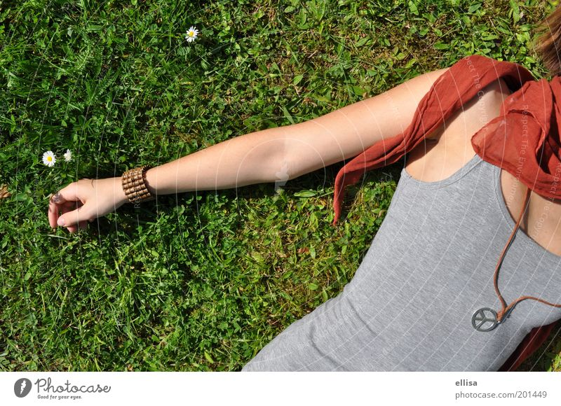 Stadtwald Mensch Natur Jugendliche Blume grün Pflanze Sommer Freude Erholung Wiese feminin Gras Frühling Glück grau