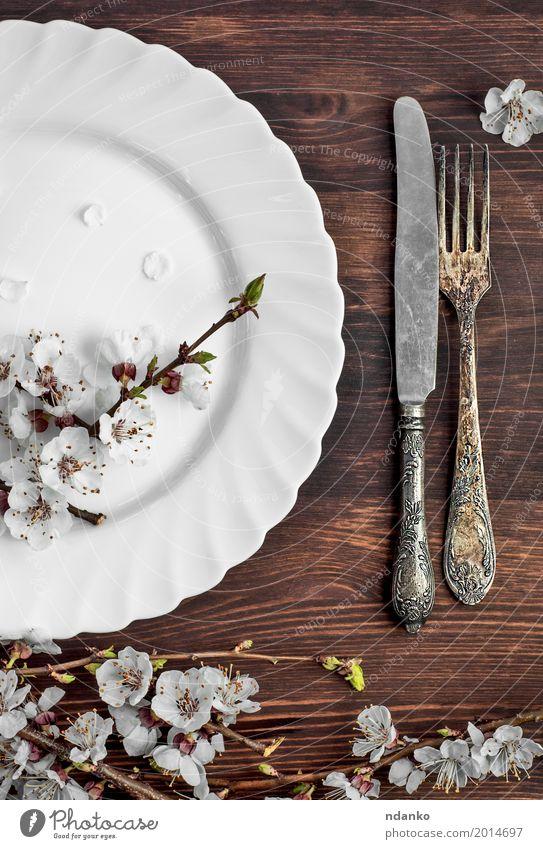 Weißes leeres Platten- und Metallweinlesemesser und -gabel Mittagessen Abendessen Teller Besteck Messer Gabel Tisch Küche Restaurant Blume Holz Stahl alt Essen