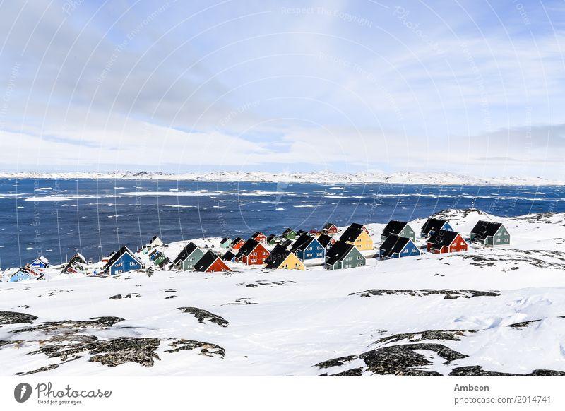 Himmel Natur Ferien & Urlaub & Reisen Stadt Farbe Landschaft Meer Haus Wolken Winter Berge u. Gebirge Architektur Schnee Tourismus Felsen Wetter
