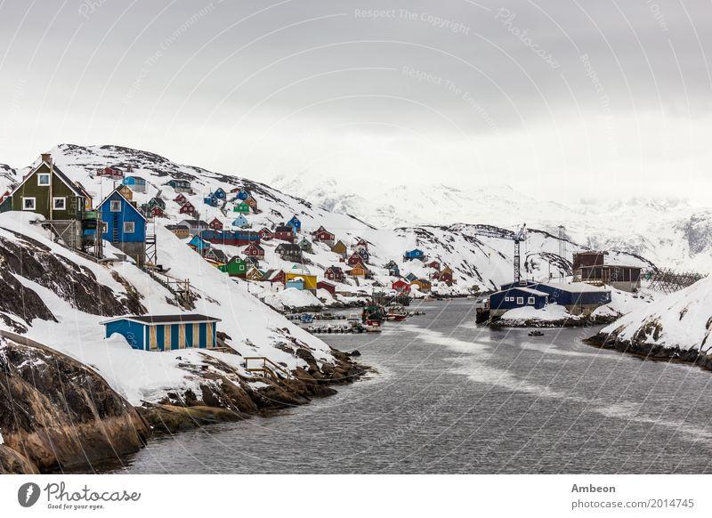 Kangamiut arktisches Dorf in der Mitte von Nirgendwo Himmel Natur Ferien & Urlaub & Reisen Stadt Landschaft Meer Haus Wolken Winter Berge u. Gebirge Architektur