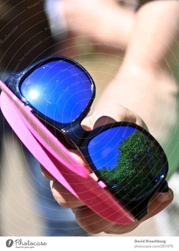 Best sun-glasses ever Mensch Hand Sommer Wärme Schönes Wetter festhalten Kunststoff Sonnenbrille Brille Spiegelbild Wetterschutz UV-Strahlung Jahreszeiten