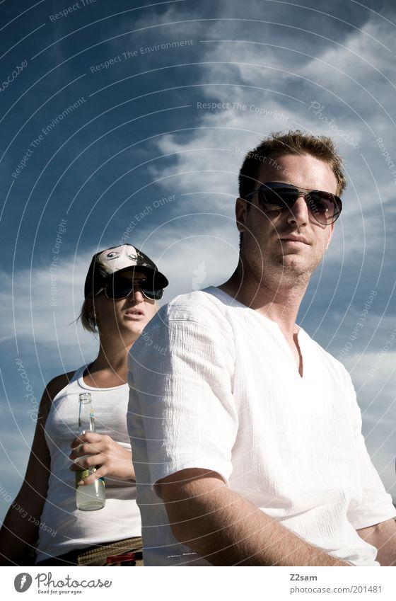 Sunny Sunday Mensch Himmel Jugendliche weiß Sommer Freude Wolken ruhig Erwachsene Erholung Stil Paar Freundschaft Zusammensein Zufriedenheit Freizeit & Hobby