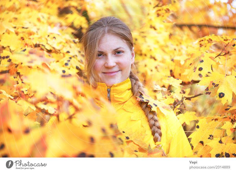 Recht junge Frau mit dem roten Haar im Herbstpark Mensch Natur Jugendliche Junge Frau Farbe schön Baum Blatt Freude Wald 18-30 Jahre Gesicht Erwachsene Leben
