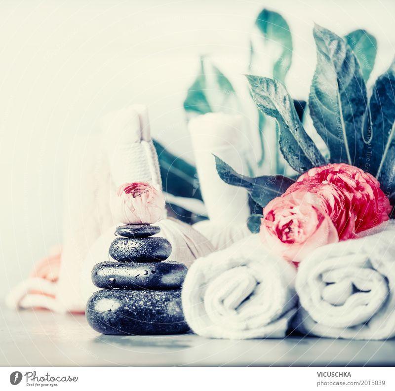 Spa mit Massagesteine und Blumen Stil Design schön Körperpflege Gesundheit Gesundheitswesen Behandlung Wellness Wohlgefühl Erholung Duft Kur Sommer Wohnzimmer