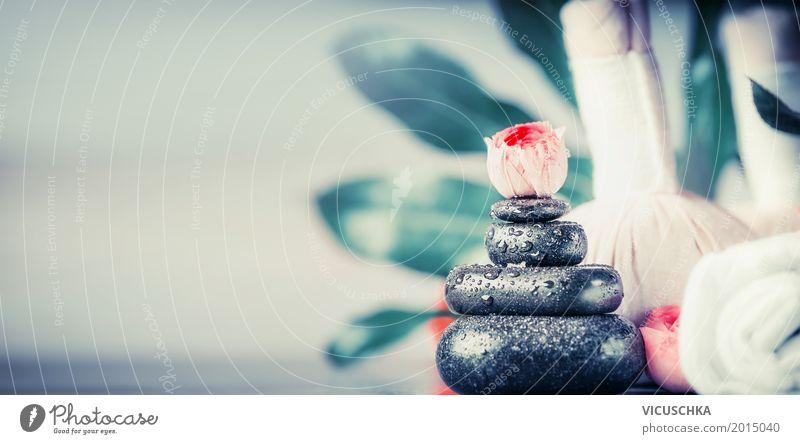 Wellness mit Massage Steine Stil Design schön Körperpflege Gesundheit Leben Meditation Kur Spa Natur Dekoration & Verzierung Fahne Gelassenheit Hintergrundbild