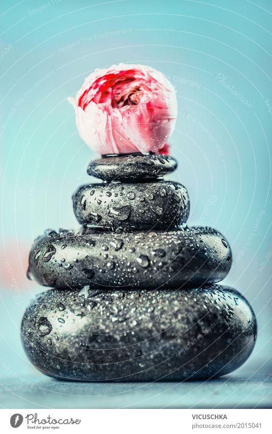 Heiße Massage Steine Stil Design Gesundheit Alternativmedizin Wellness Erholung Spa Natur Blume rosa Tradition Basalt Stapel blau Behandlung Wassertropfen