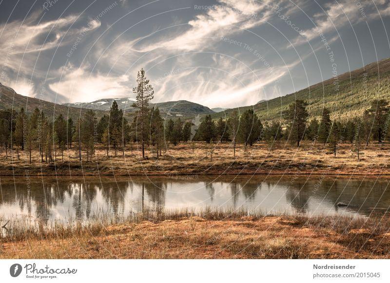 Nordische Wildnis Himmel Natur Ferien & Urlaub & Reisen Sommer Wasser Baum Landschaft Wolken ruhig Ferne Wald Berge u. Gebirge Herbst Freiheit frei wandern