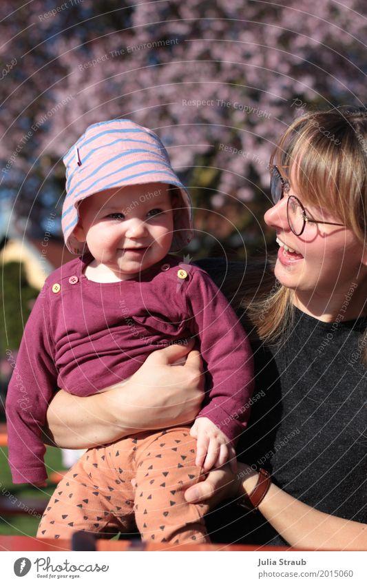 hello sunshine Mensch Jugendliche blau schön Baum Freude Mädchen 18-30 Jahre schwarz Erwachsene Blüte Frühling feminin lachen Familie & Verwandtschaft Glück