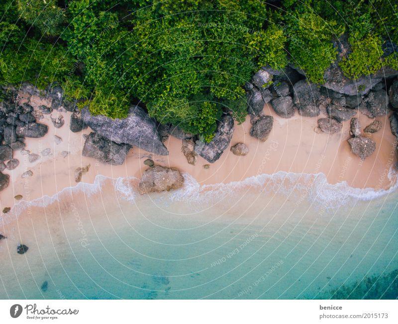 beach von oben Strand Vogelperspektive Luftaufnahme hoch Ferien & Urlaub & Reisen Bali Indonesien Sandstrand Wasser Meer Korallen Sommer Sonnenschein weiß