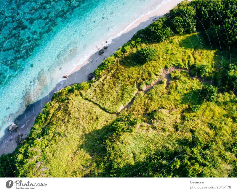 Bali Beach Strand Vogelperspektive Luftaufnahme hoch Ferien & Urlaub & Reisen Indonesien Sandstrand Wasser Meer Korallen Sommer Sonne weiß Paradies Insel
