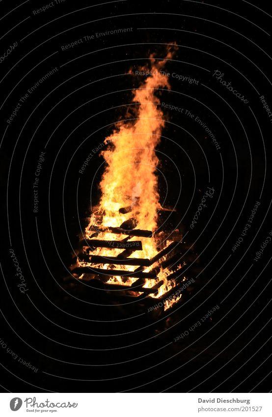 Campfire schön schwarz gelb Wärme Holz orange Feuer Romantik brennen Flamme Brand Feuerstelle Glut Osterfeuer Feuersturm Sommersonnenwende