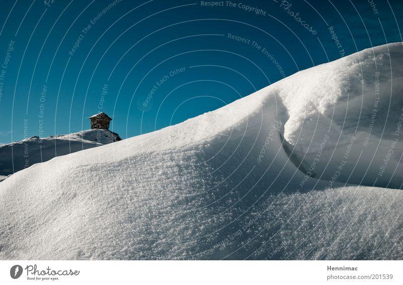 Ziel. Natur Himmel weiß blau Winter ruhig Einsamkeit kalt Schnee Berge u. Gebirge Landschaft hoch ästhetisch Sauberkeit
