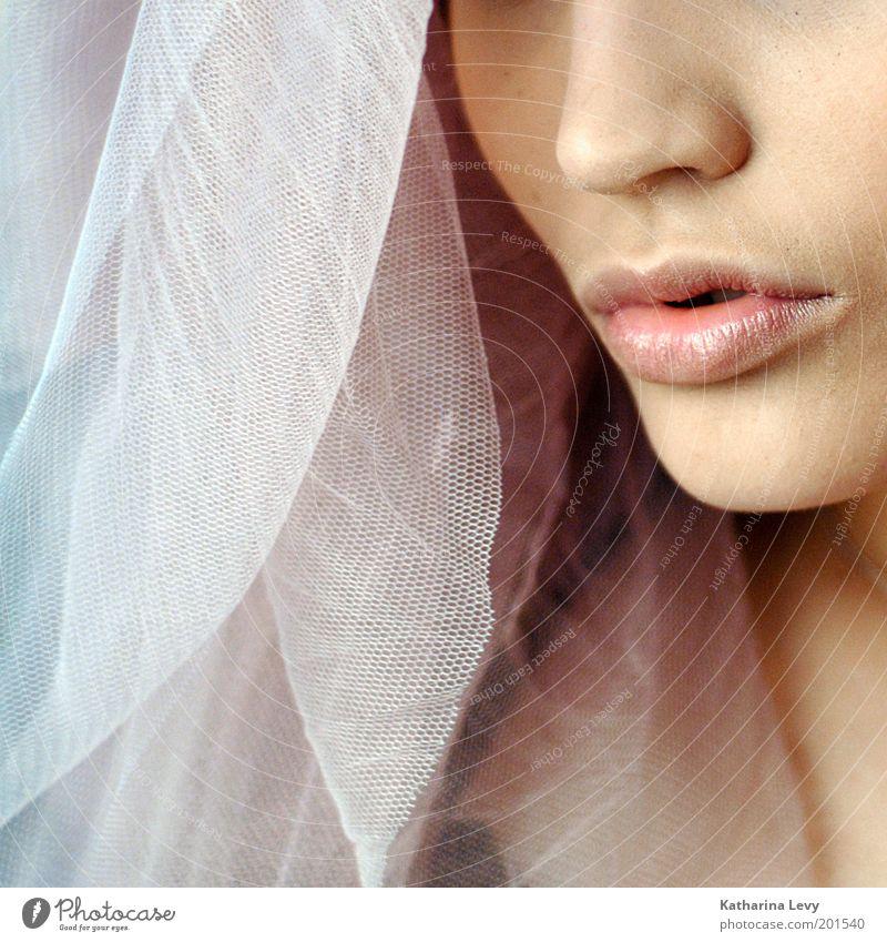 Ja, ich will! feminin Frau Erwachsene Nase Mund Lippen 1 Mensch 18-30 Jahre Jugendliche Schleier atmen träumen ästhetisch elegant schön rosa Glück Ehrlichkeit