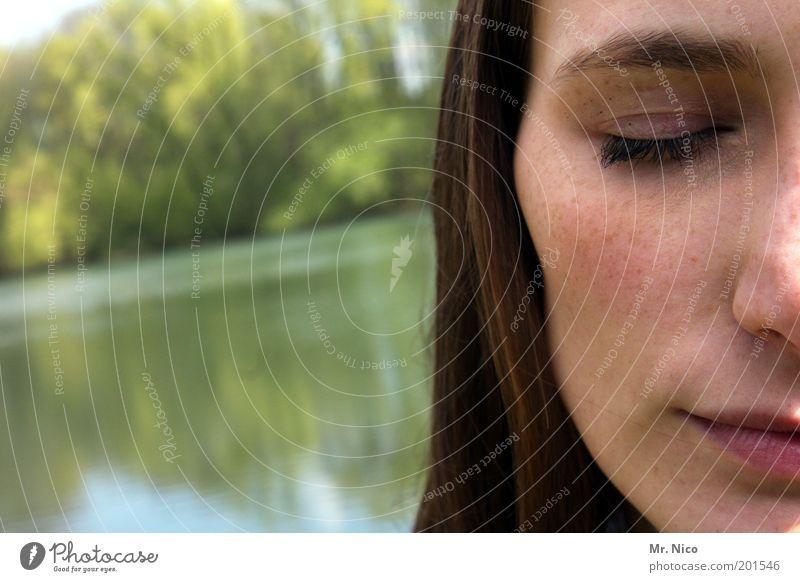 traum tag schön feminin Frau Erwachsene Haut Kopf Haare & Frisuren Gesicht Auge Nase Mund Lippen Natur Seeufer brünett langhaarig Zufriedenheit Sympathie