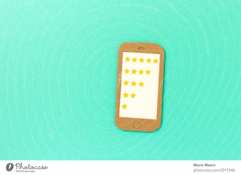 5 Sterne Wertung Lifestyle kaufen Business Erfolg Handy PDA trendy modern positiv türkis Zufriedenheit Begeisterung Sicherheit Konkurrenz Werbung Feedback Kunde