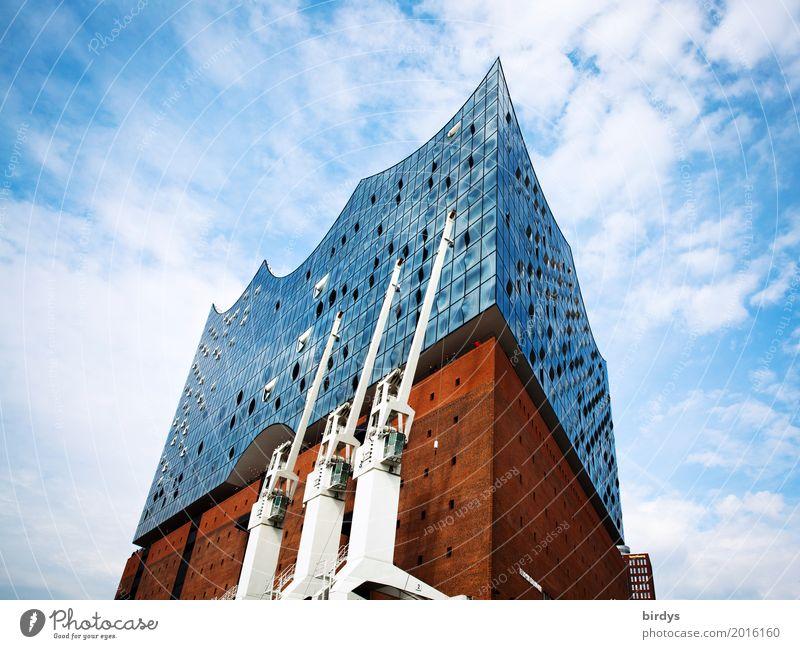 Elbphilharmomie Städtereise Architektur Kultur Opernhaus Himmel Wolken Schönes Wetter Hamburg Sehenswürdigkeit Wahrzeichen Elbphilharmonie ästhetisch groß hoch