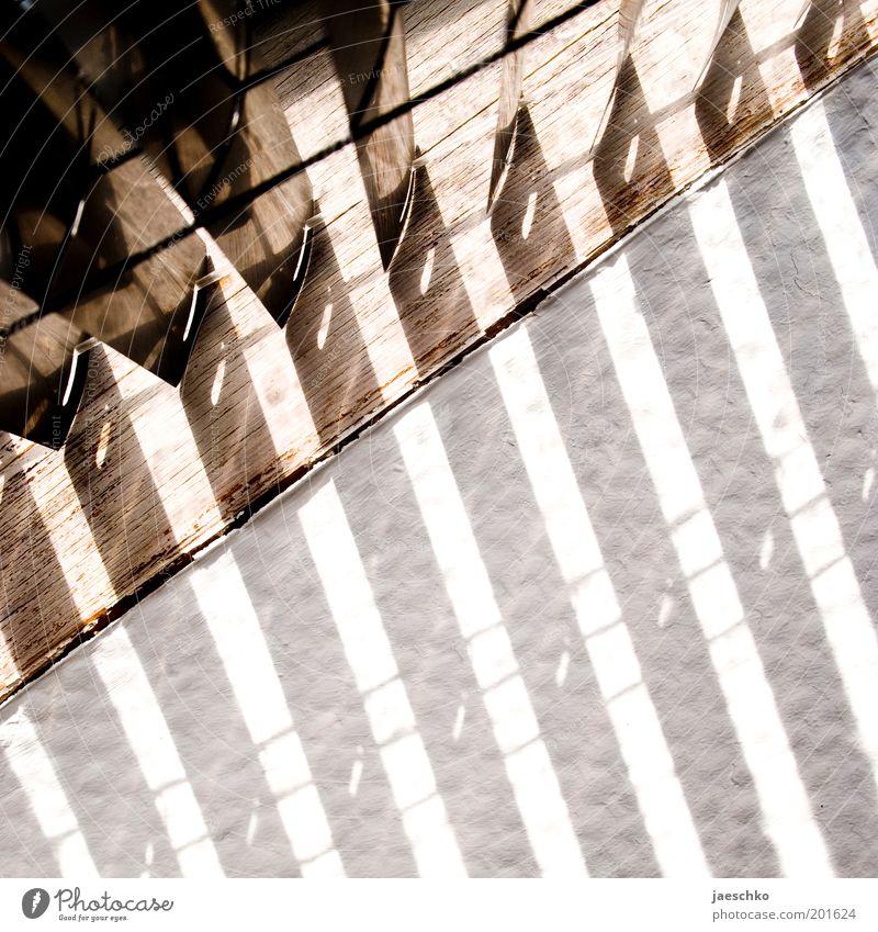 Schlafzimmersonne Fenster Holz leuchten hell Wärme Dachfenster Jalousie Tapete Raufasertapete Schatten Schattenspiel Dachschräge Streifen Morgen Farbfoto