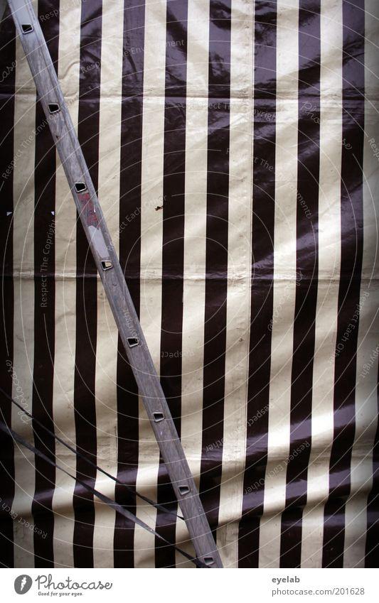 Verplant grau schwarz weiß Symmetrie Leiter Streifen Linie Abdeckung Zelt Vorhang Bierzelt Schutz Farbfoto Gedeckte Farben Außenaufnahme abstrakt Muster