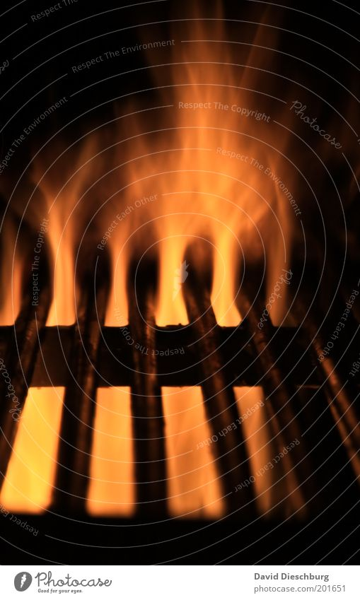 Schatz...holst du mal die Steaks... gelb rot schwarz Grill Grillen Grillrost heiß Flamme Feuer Glut Grillsaison Farbfoto Außenaufnahme Detailaufnahme