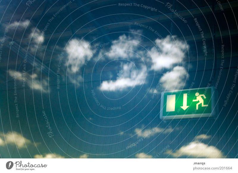 Next Exit: Summer Himmel Sommer Wolken Ferne Freiheit Schilder & Markierungen frei Ausflug fallen Unendlichkeit Pfeil skurril Schönes Wetter Fernweh abwärts Spiegelbild