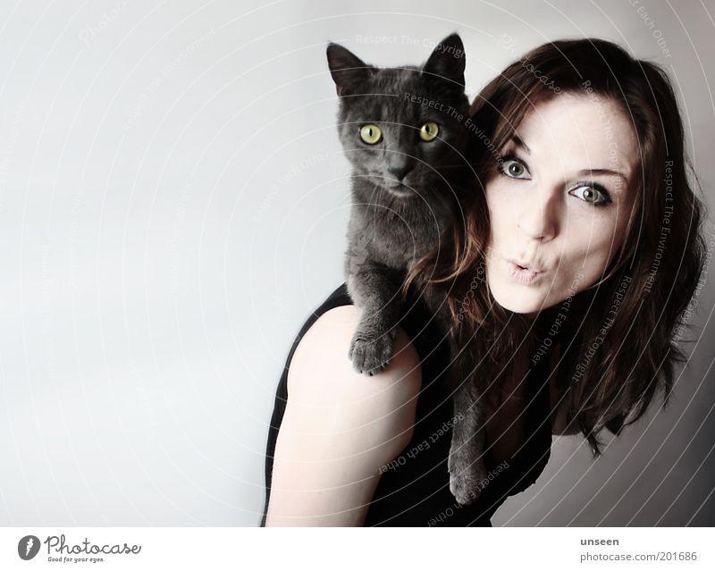Have a break Mensch feminin Frau Erwachsene 1 Tier Haustier Katze Blick tragen Tierliebe Körperhaltung Farbfoto Gedeckte Farben Innenaufnahme Textfreiraum links