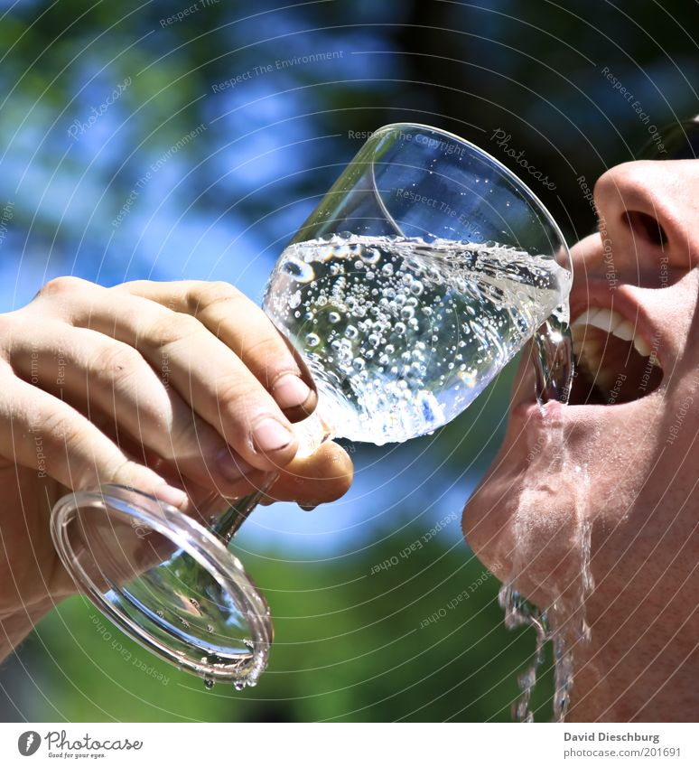 Durstlöscher Jugendliche Wasser Hand Sommer Erwachsene Erholung Leben Kopf offen Glas Trinkwasser 18-30 Jahre Mund Nase frisch Finger