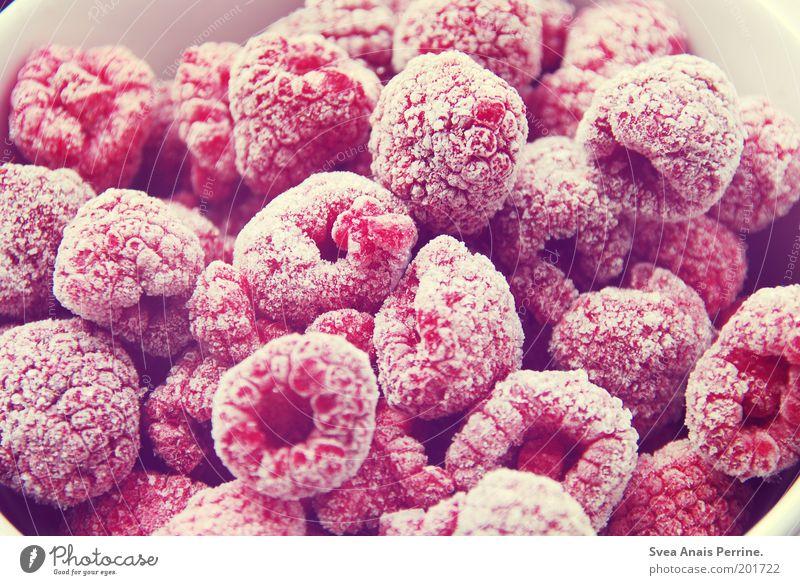 200-Himbeeren schön weiß kalt Eis rosa Lebensmittel Frucht süß mehrere Frost violett Duft Vitamin Schalen & Schüsseln Beeren Erfrischung