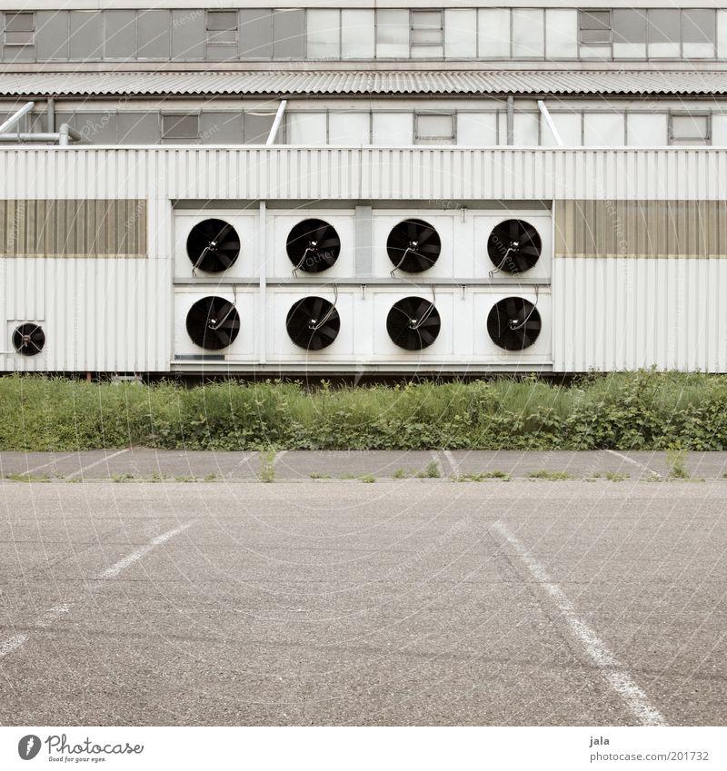 klimatechnik Pflanze Gras Industrieanlage Fabrik Platz Bauwerk Gebäude Fenster Klimaanlage trist grau grün weiß Temperatur Lüftung Parkplatz Farbfoto