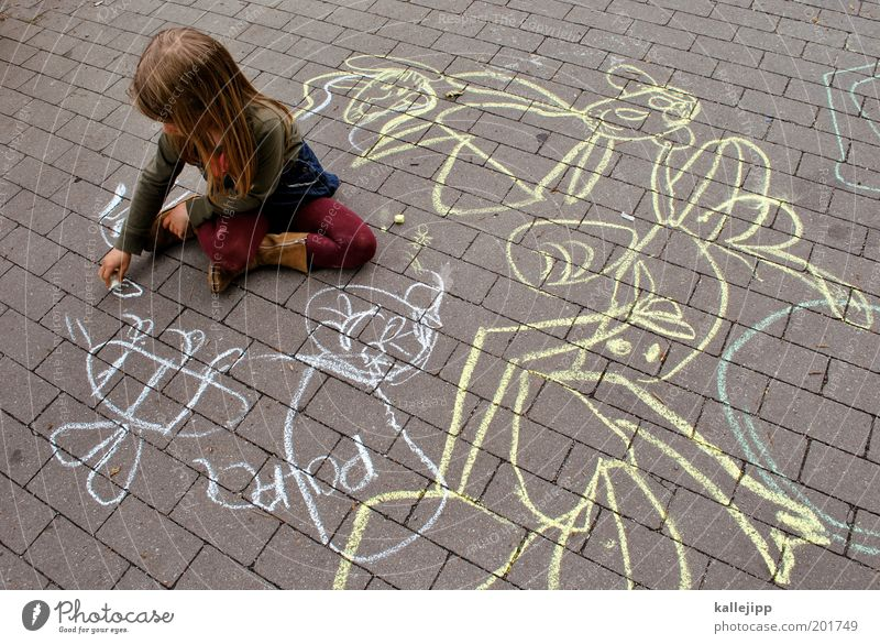 paint a picture of papa Mensch Kind Mädchen Straße Leben Spielen Wege & Pfade träumen Kunst Kindheit sitzen Bildung Idylle Kreativität Idee Biene