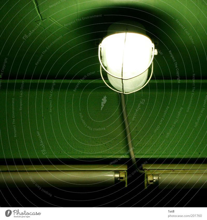 sparfuchs Fortschritt Zukunft High-Tech Energiewirtschaft Erneuerbare Energie Sonnenenergie alt hell Lampe Neonlicht sparen Sparlampe Stahlträger Farbfoto