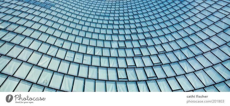 wellen blau Haus schwarz kalt Fenster Gebäude Metall Architektur Glas Hochhaus Fassade modern Bankgebäude außergewöhnlich Stahl