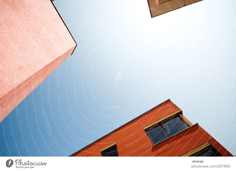 Teilweise Lifestyle Häusliches Leben Wolkenloser Himmel Schönes Wetter Gebäude eckig hell trendy rot Farbe Perspektive Präzision rein Textfreiraum Farbfoto