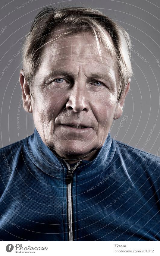 senior Mensch Mann alt blau Gesicht Erwachsene Leben Senior Kraft blond natürlich maskulin Porträt Vergänglichkeit einfach 60 und älter