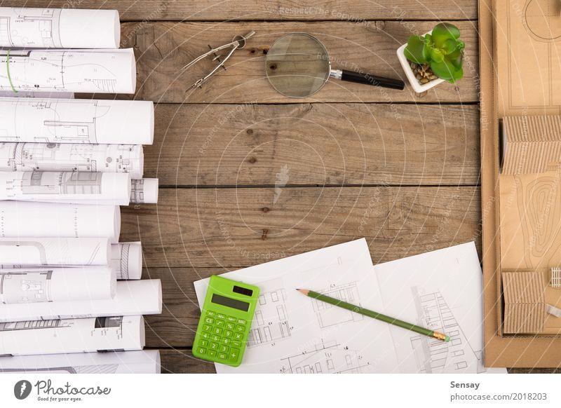 Arbeitsplatz des Architekten - Konstruktionszeichnungen Design Wohnung Haus Schreibtisch Tisch Büroarbeit Industrie Business Technik & Technologie Architektur