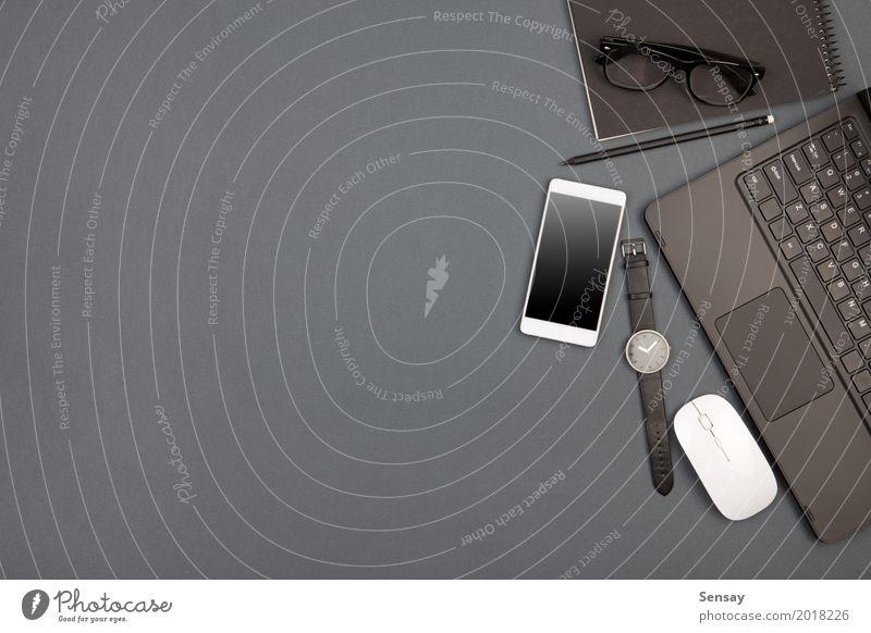 schwarz Business grau oben Arbeit & Erwerbstätigkeit Textfreiraum Büro modern Technik & Technologie Kreativität Tisch Computer Buch Papier Industrie Telefon