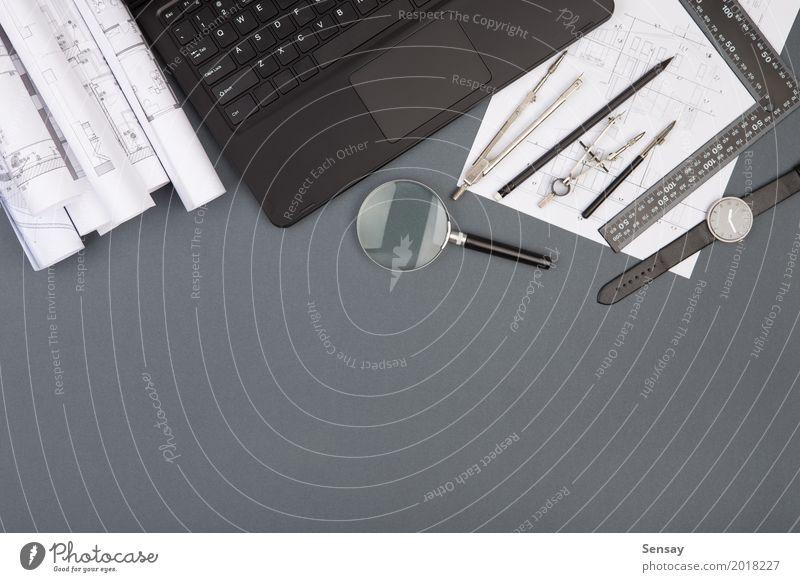 Arbeitsplatz des Architekten - Konstruktionszeichnungen und Werkzeuge weiß Haus Architektur Holz Business Design Wohnung Büro Technik & Technologie Tisch