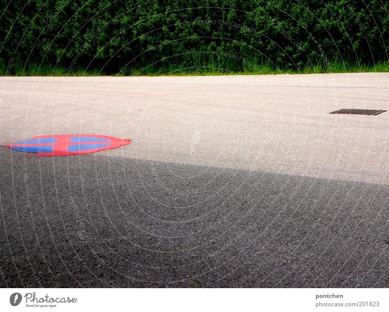 auf der Straße blau grün rot Pflanze grau Schilder & Markierungen Sträucher Zeichen Verkehrswege Straßenbelag Teer Gully Verkehrsschild Verkehrszeichen