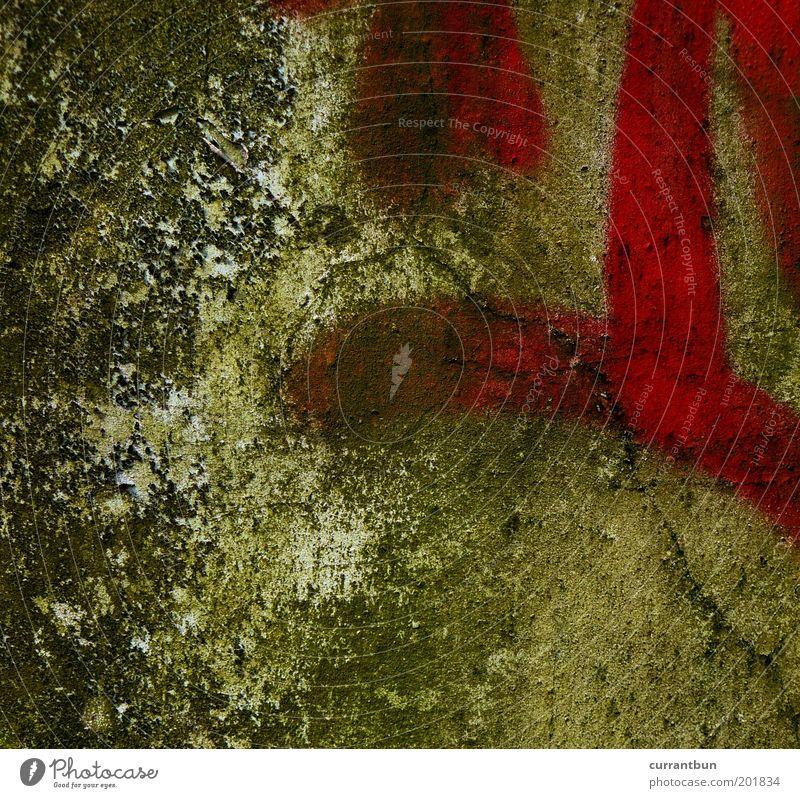 careful with that axe, eugene! grün rot ruhig Wand Mauer Graffiti ästhetisch verfallen Verfall Riss abstrakt Experiment Muster Vandalismus Schmiererei