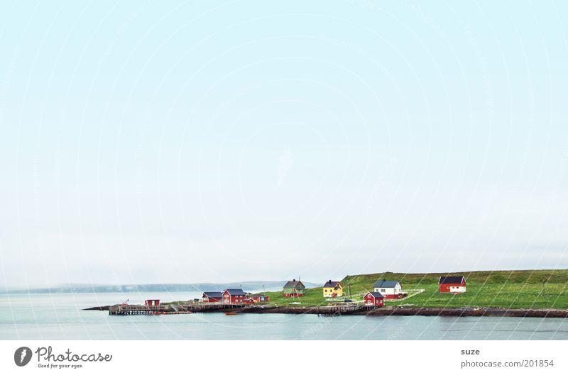 Ausläufer Himmel Natur Ferien & Urlaub & Reisen Sommer Meer Einsamkeit ruhig Landschaft Haus Ferne Umwelt Wiese Küste Freiheit Stimmung Feld