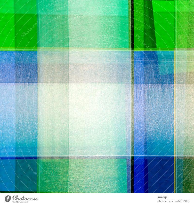 Chequered Stil Design Kunst Linie blau grün chaotisch Farbe skurril gemischt kariert Doppelbelichtung Farbfoto Detailaufnahme abstrakt Muster