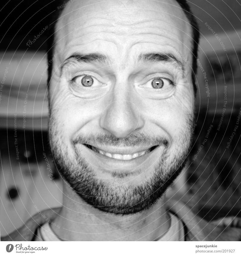 Smile maskulin Gesicht Auge Mund Lippen Zähne Bart 30-45 Jahre Erwachsene genießen Lächeln lachen Blick Freundlichkeit Fröhlichkeit lustig verrückt