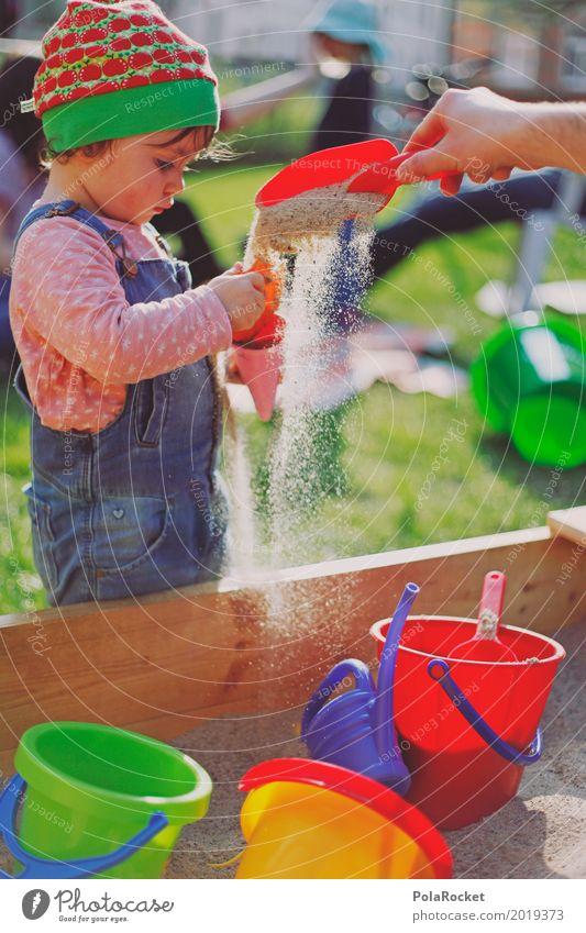 Erdbeermütze XI Mensch feminin Kind Kleinkind Mädchen ästhetisch Kindheit Kindergarten Kindheitserinnerung Kindererziehung Kinderspiel kindlich Eimer Sand